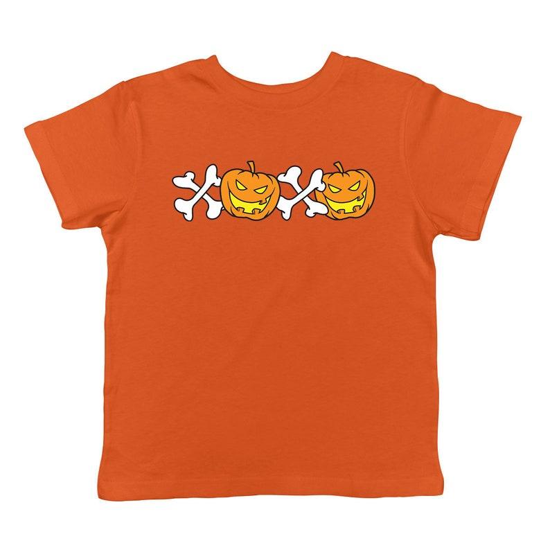 XOXO Pumpkins Spooky Hug And Kisses Jack O Lantern Crossbones Candle Fire Trick Or Treat Sugar Rush Candy Bag Bones Infant T-Shirt KID-0228