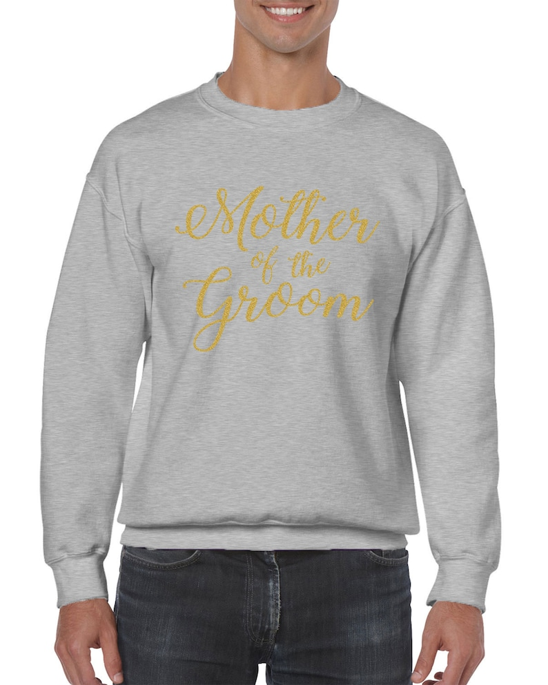 Mother Of The Groom Gold Glitter Wedding Bride Matrimony Present Gift Cursive Idea Marriage Wife Bridal Men/'s Crew Neck Sweater SF-0383