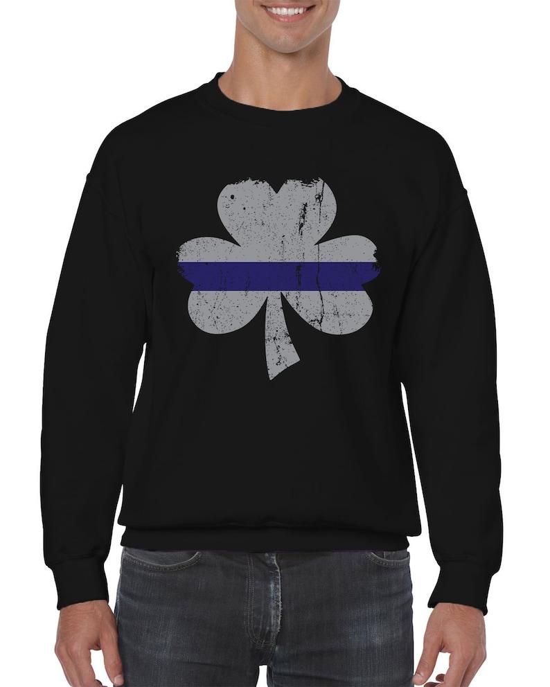 Patrick/'s Day Safe Celebration Feeling Lucky Wee Men/'s Crew Neck Sweater SF-0467 Silver Blue Line Shamrock Law Enforcement Appreciation St
