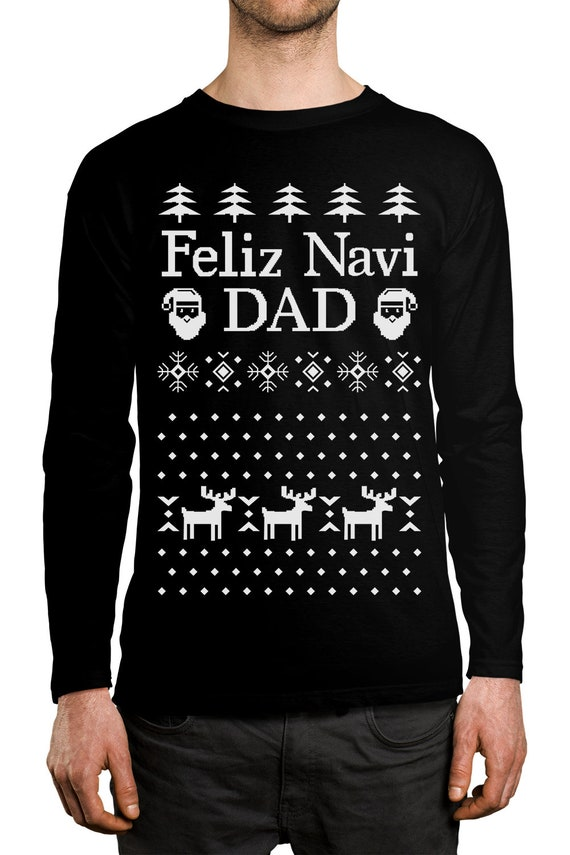 SpiritForged Apparel Feliz Navi Dad Ugly Christmas Crewneck Sweater