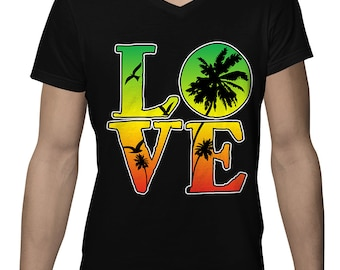 Rasta Colors Love Jamaica Jamaican Country Flag Kingston Rastafari Island Pride Men's V-Neck SF-0469