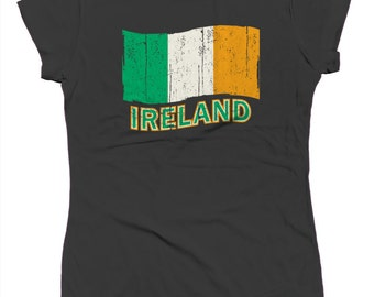 Ireland Country Pride Distressed Flag Eire Shamrock Saint Pattys Day Clover Juniors T-shirt SF_0162