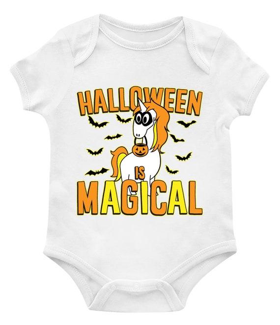 Halloween Is Magical Halloween Unicorn Costume Mask Bats Fluttering Magic Potions Hocus Pocus Make-Believe Bucket Infant Bodysuit KID-0233