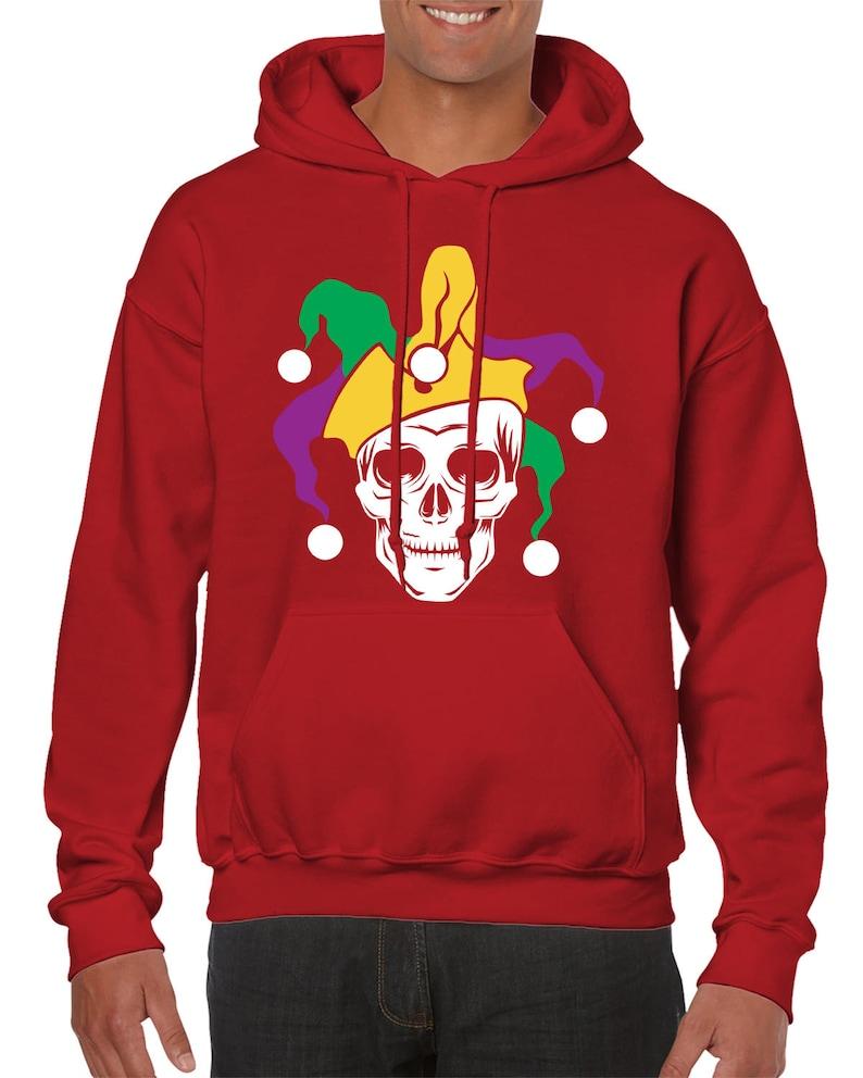 Mardi Gras Jester Skull Laissez Les Bon Temps Rouler Let The Good Times Roll Party Drinking Alcohol Men/'s Hoodie SF-0459