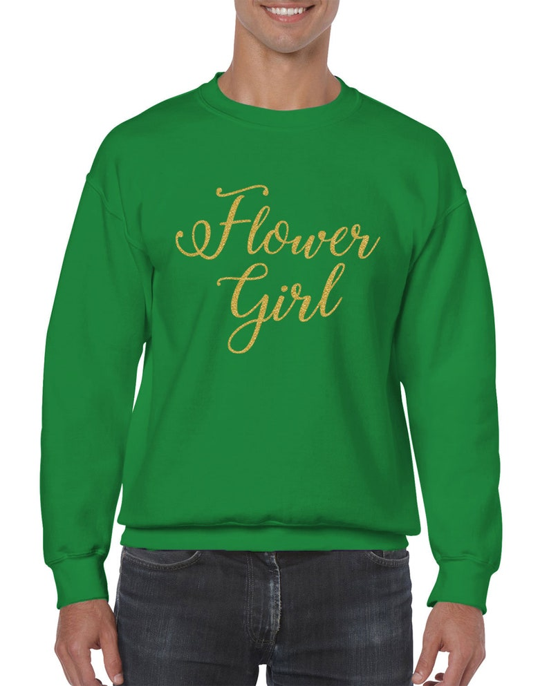 Flower Girl Gold Glitter Wedding Bride Matrimony Present Gift Cursive Idea Marriage Wife Bridal Men/'s Crew Neck Sweater SF-0385