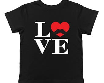 Love Mustache Heart Cupid Romance Romantic Hugs Kisses Cute Infant T-Shirt KID-0136