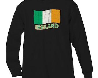 Ireland Country Pride Distressed Flag Eire Shamrock Saint Pattys Day Clover Men's Longsleeve Shirt SF_0162