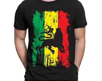 Rasta Flag Rastafarian Faith Jah Bless Earthstrong Celebation Lion Of Judah Praise Rastafari Movement Men's T-shirt OSF-0079