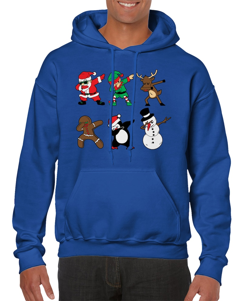Dabbing Christmas Characters Hit Dab North Pole Snow Present Top Hat Carrot Nose Coal Button Stick Hands Santa/'s Friend Men/'s Hoodie SF-0542