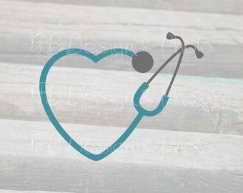Heart Stethoscope Svg Etsy