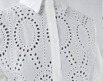 Vintage Summer Blouse - Embroidered Button Down