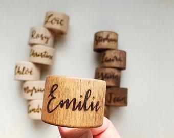 "Personalized Napkin Rings Wood Custom Napkin Holder Wooden (1–1/2"")"