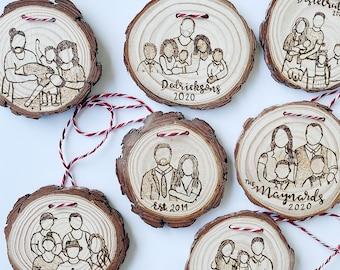 Custom Family Portrait Ornament Personalized Family Ornament