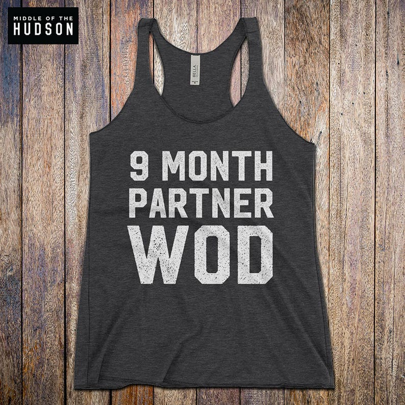 9acf4f42b7778 9 Month Partner WOD Expecting Mom Workout Tank funny | Etsy