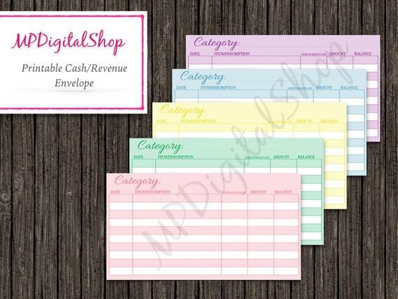 Diy Cash Envelope Template Instant Download Pdf Coloful 6 Etsy