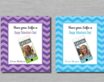 Selfie Valentines Printable Customized Name with Picture, Let's Take a Selfie, Cell Phone,  Chevron, Grunge, Have Your Selfie Card