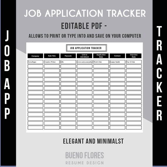 job application tracker job application log editable etsy