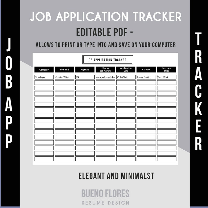 image regarding Printable Job Search Log identified as Endeavor Computer software Tracker - Process Computer software Log / Editable Printable PDF / Undertaking Glance Organizer /Immediate Down load