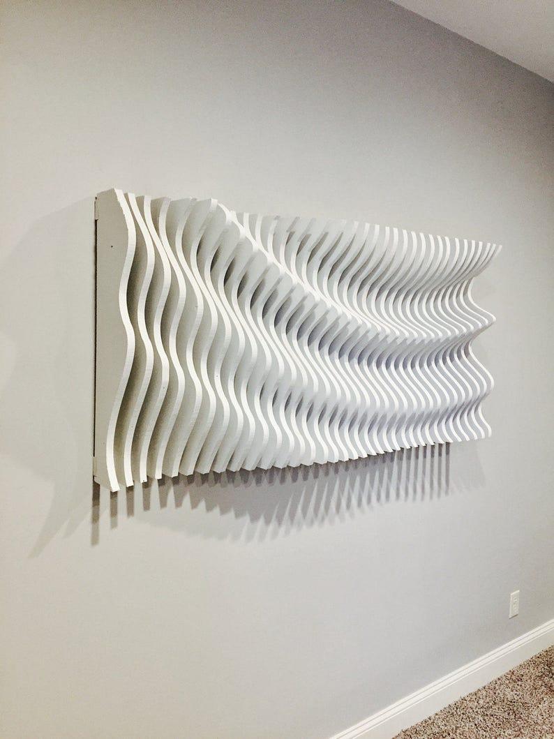 3d Wall Art For Contemporary Homes: Large Wooden Wall Art Modern Art Parametric Wave 3D Art