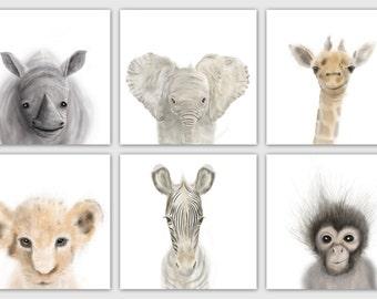 Safari Nursery Prints Set of 6, Nursery wall art, Animal Prints, Baby Decor, DIGITAL PRINTS!