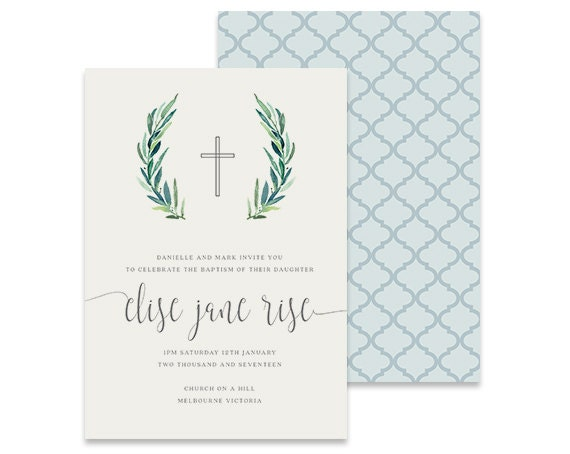 printable baptism invitation christening invitation leafy etsy