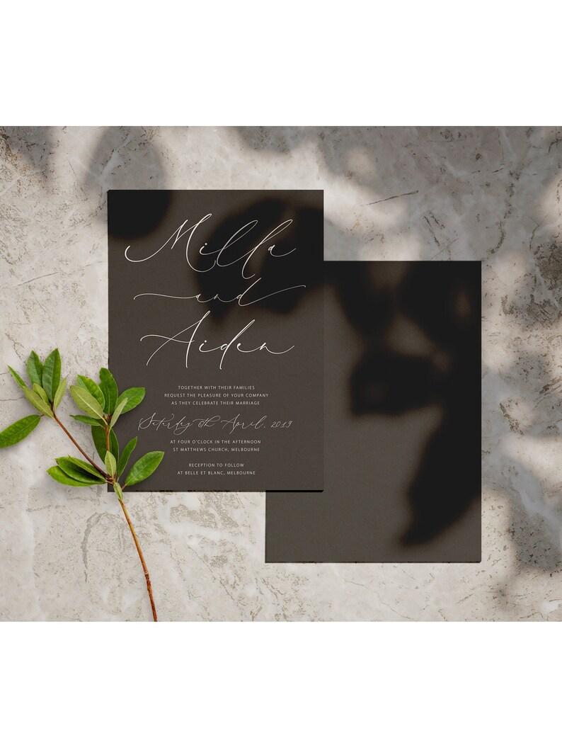 Charcoal black invite Calligraphy Invite Wedding Invite Ebony Collection Australia White Ink Wedding Invitations Invite Printing