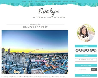 Blogger Template Premade Blogger Templates / Blog Template / Blogger Theme  - Evelyn