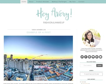 Blogger Template Premade Blogger Templates / Blog Template / Feminine Blogger Theme  - Avery