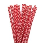 Paper Straws, Red Chevron Paper Straws, BBQ Paper Goods, Chevron Picnic Party Supplies, Red Wedding Decor, Red Graduation Party Paper Straws