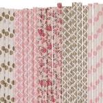 Paper Straw Mix, Light Pink Gold Floral Damask Polka Dot Paper Straws, Garden Tea Party Decoration, Floral Bridal Shower Brunch Paper Straws