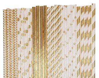 Paper Straw Mix, Gold Foil Chevron Polka Dot Striped Star Paper Straws, Gold Anniversary Supplies, Golden Birthday Party, Disco Dance Decor