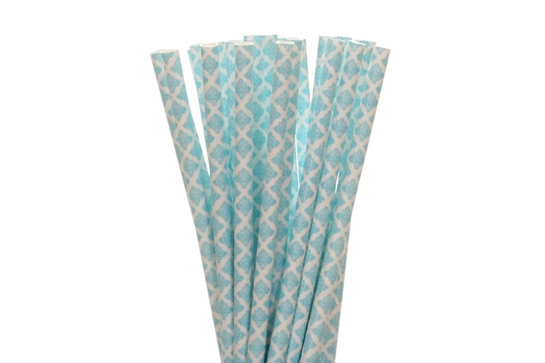 Paper Straws Blue Damask Paper Straws Baby Shower Straw image 0