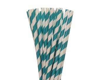 Paper Straws, Teal Striped Paper Straws, Teal Birthday Decor, Little Man Party Supplies, Engagement Party Straws, Mermaid Party Paper Straws