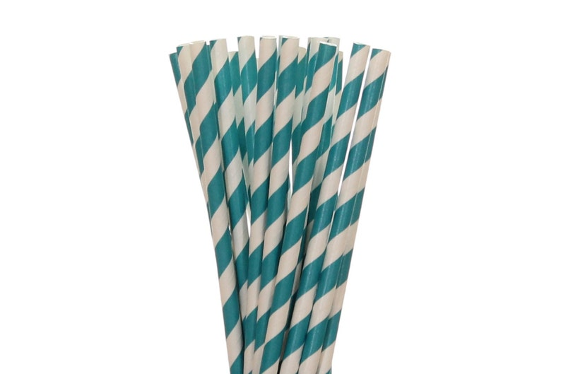 Paper Straws Teal Striped Paper Straws Teal Birthday Decor image 0
