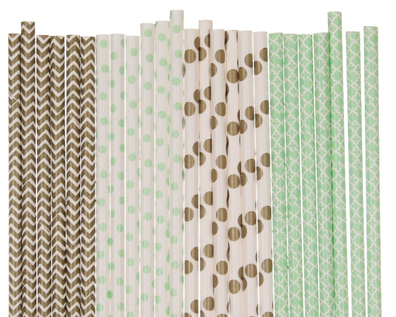 Paper Straw Mix Mint Green and Gold Chevron Polka Dot image 0