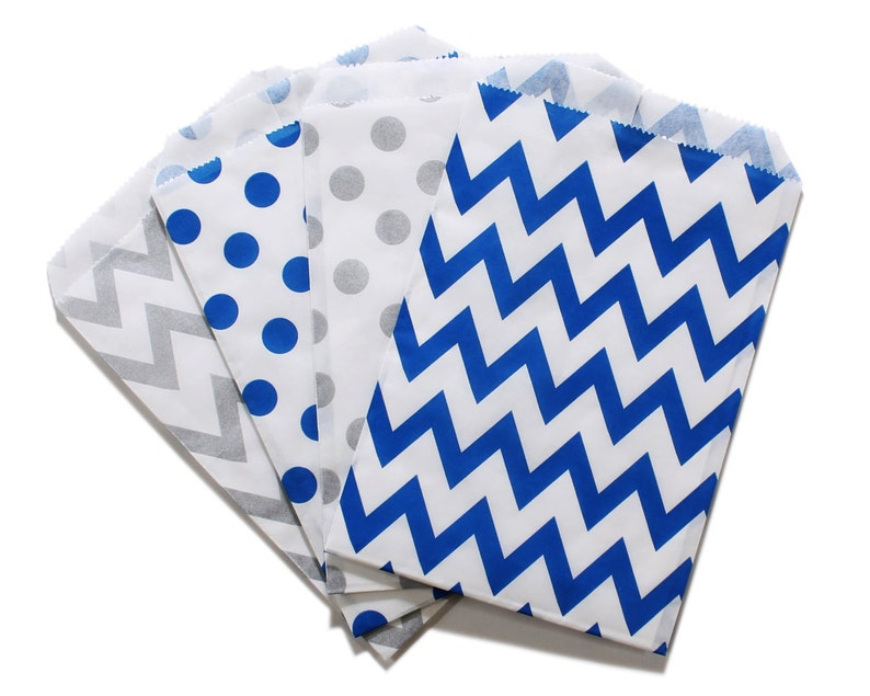 Party Favor Bag Paper Favor Bags Silver and Blue Polka Dot image 0