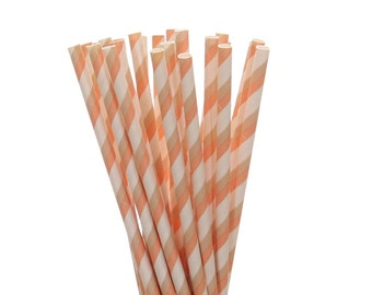 Paper Straws, Peach and Tan Striped Paper Straws, Spring Wedding Paper Goods, Engagement Party Paper Straws, Boho Chic Tea Party Paper Straw