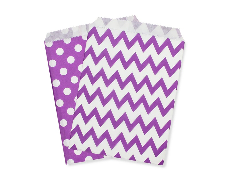 Party Favor Bag Paper Favor Bags Purple Polka Dot Chevron image 0