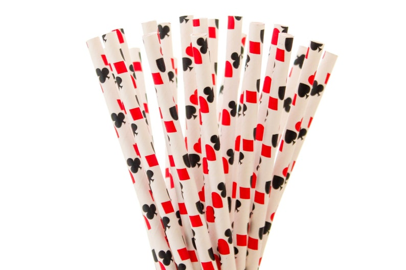 Paper Straws Red and Black Paper Straws Playing Cards image 0