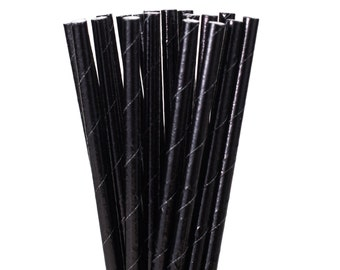 Paper Straws, Solid Black Paper Straws, Halloween Party Supplies, Graduation Party Decor, Over the Hill Party Paper Straws, Cocktail Party