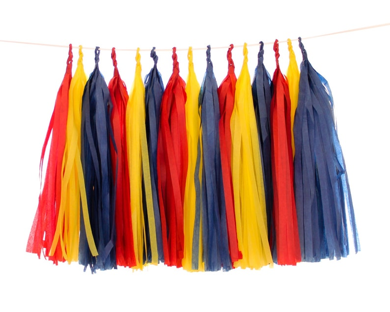 Tissue Paper Tassels Red Navy and Yellow Tassel Garland image 0