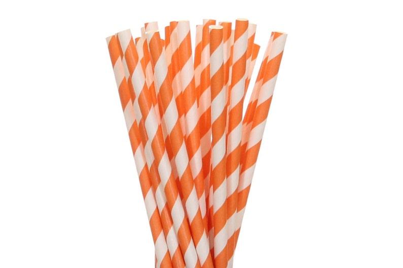 Paper Straws Orange Striped Paper Straws Orange Birthday image 0