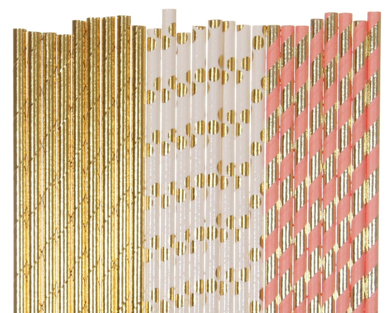 Paper Straw Mix Blush and Gold Striped Polka Dot Paper image 0
