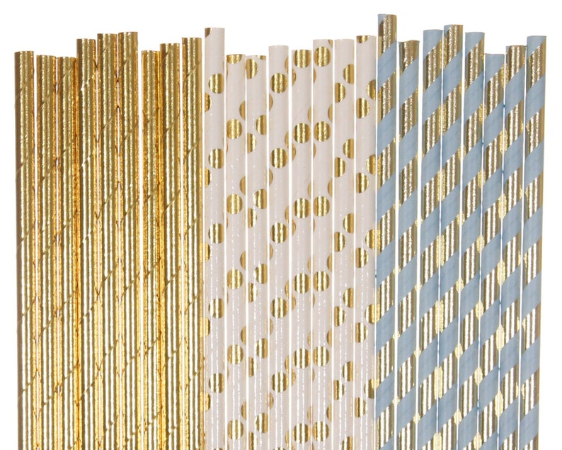 Paper Straw Mix Blue and Gold Striped Polka Dot Paper Straws image 0