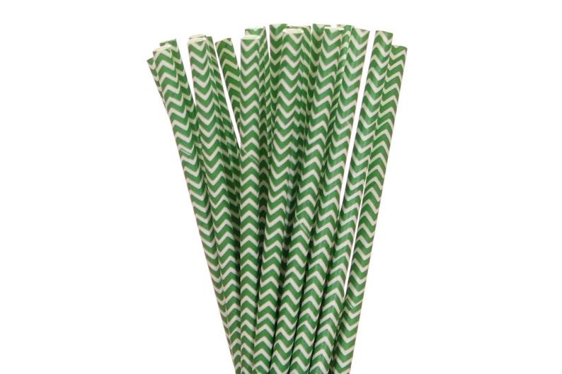 Paper Straws Green Chevron Paper Straws Graduation Party image 0