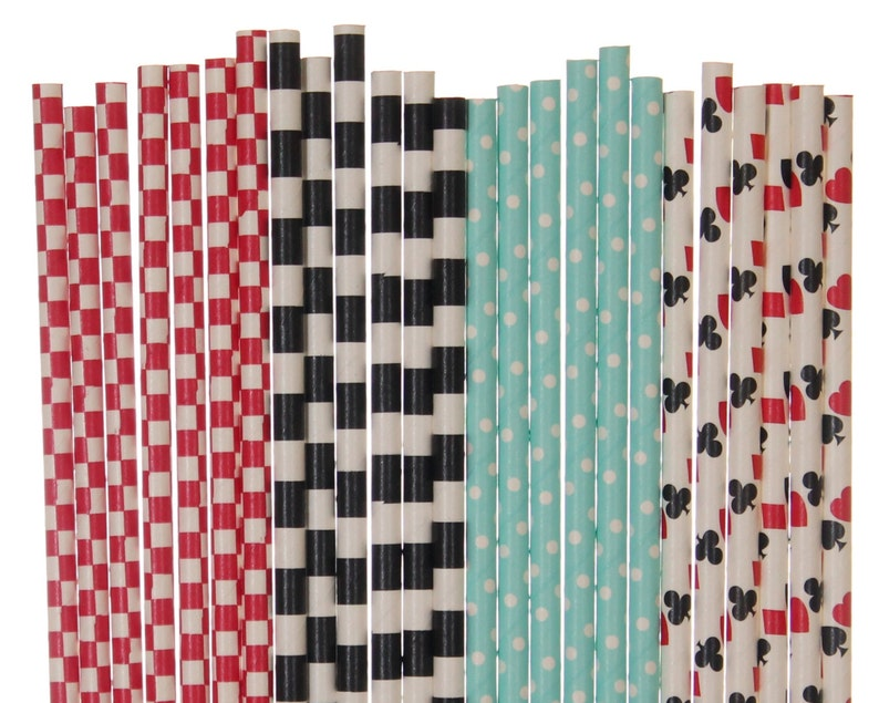 Paper Straw Mix Alice in Wonderland Paper Straws Red Black image 0
