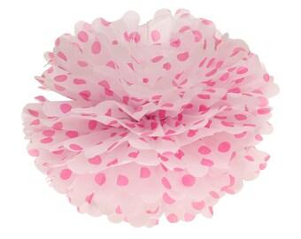 Pom Pom, bola de papel Pom Pom, pompones de papel de seda, pompones de lunares de color de rosa caliente, género revelan Decor, Telón de fondo foto pompón de cumpleaños