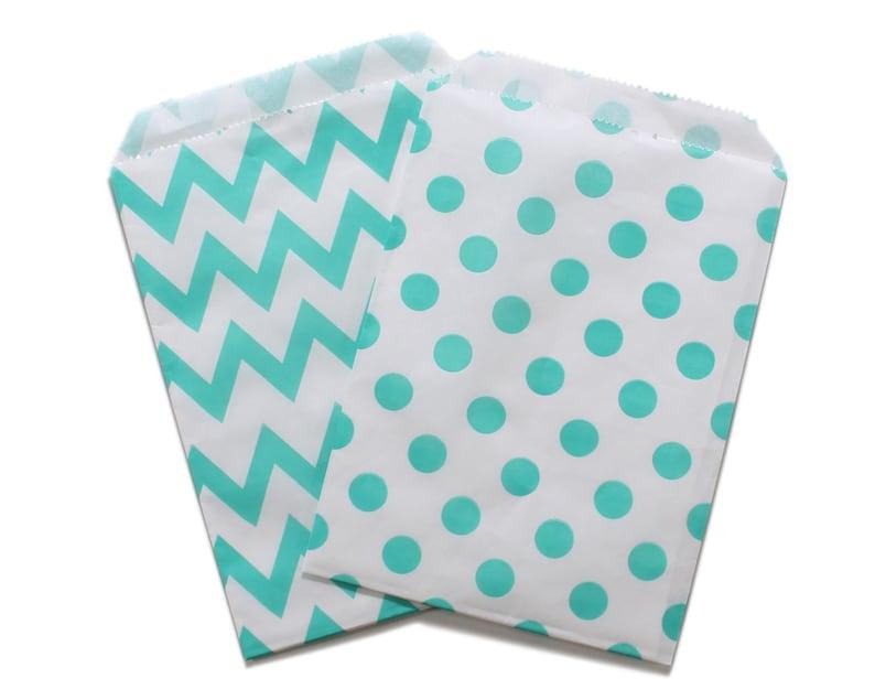 Party Favor Bag Paper Favor Bags Aqua Polka Dot Chevron image 0