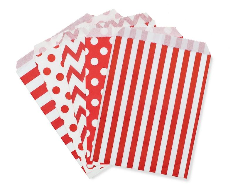 Party Favor Bag Paper Favor Bags Red Polka Dot Striped image 0