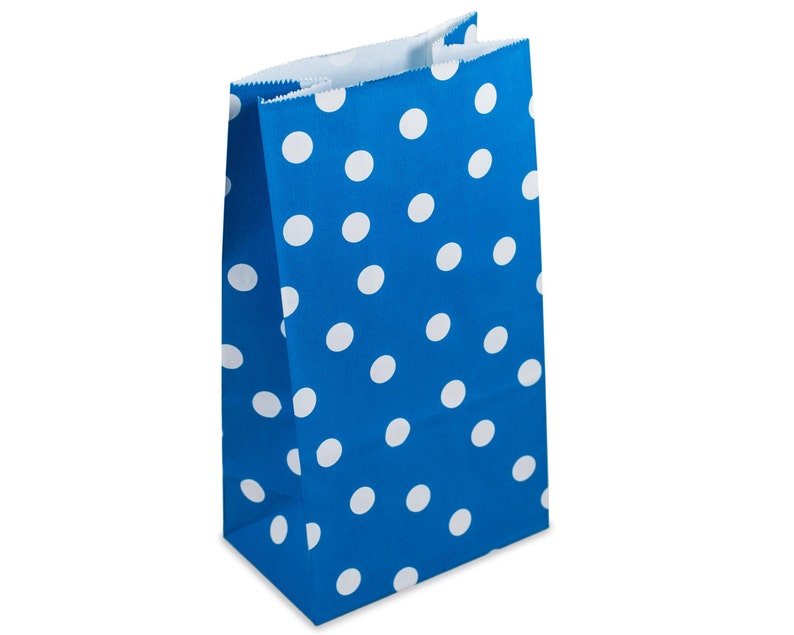 Party Favor Bags Blue Polka Dot Paper Lunch Bags Set of 10 image 0